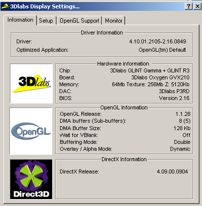 VGA Legacy MKIII - 3Dlabs Oxygen GVX210
