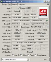 Sapphire HD5670 GPUZ