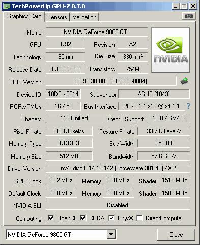 Geforce 9800 Gpu-Z