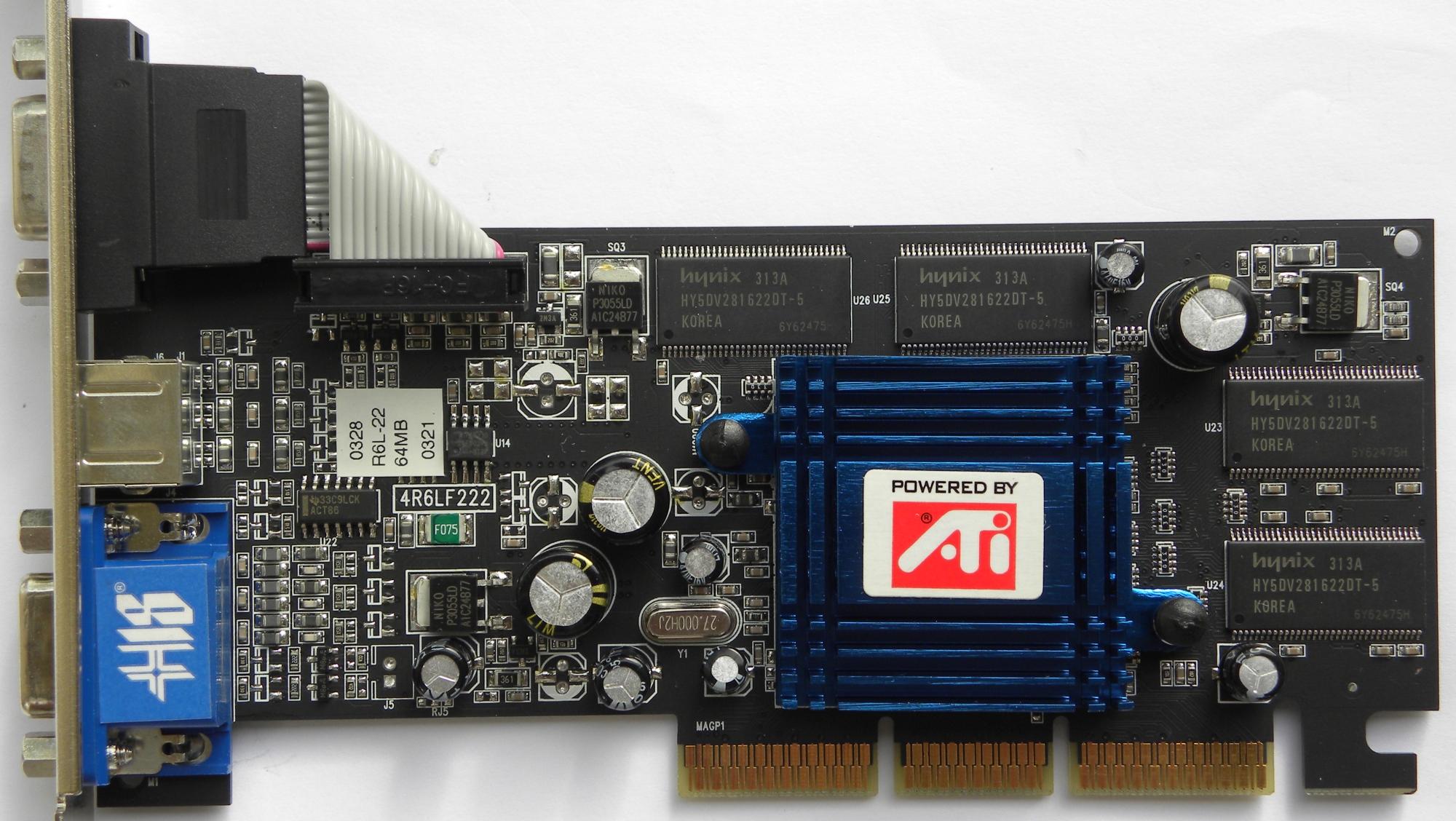 Ati radeon 7000 videocard with 64 mb and agp connector, 1x vga.