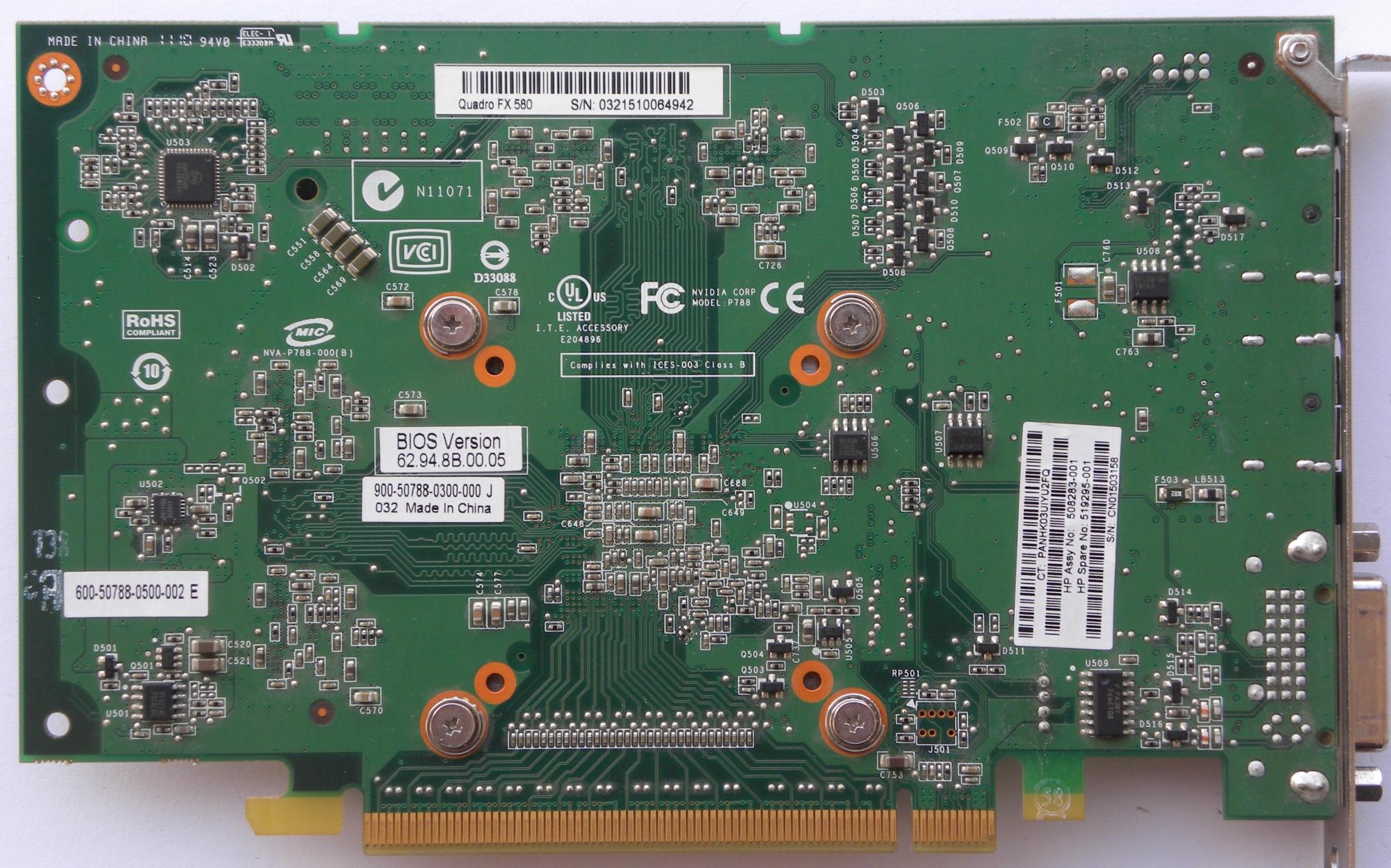 VGA Legacy MKIII - NVIDIA Quadro FX 580